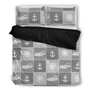 Pontoon Boat Anchor Rudder Bedding Set Duvet Cover Grids ccnc006 ccnc012 pb0086