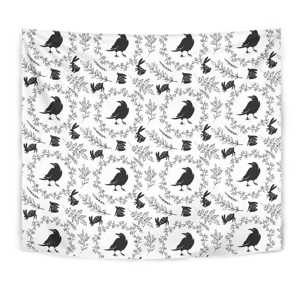 Crows Floral Wreath Rabbit Pattern Wall Tapestry