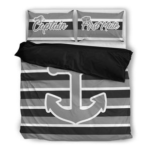 Anchor Bedding  Nautical Bedding Captain & First Mate Anchor Stripe ccnc006 bt0160