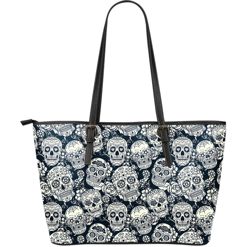 Sugar Skull Black White Pattern Large Leather Tote Bag