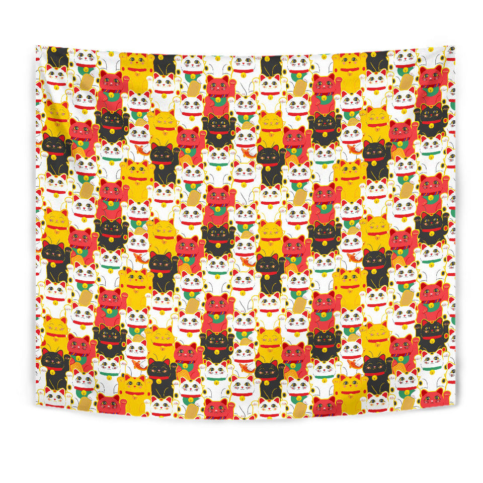 Colorful Maneki Neko Lucky Cat Pattern Wall Tapestry