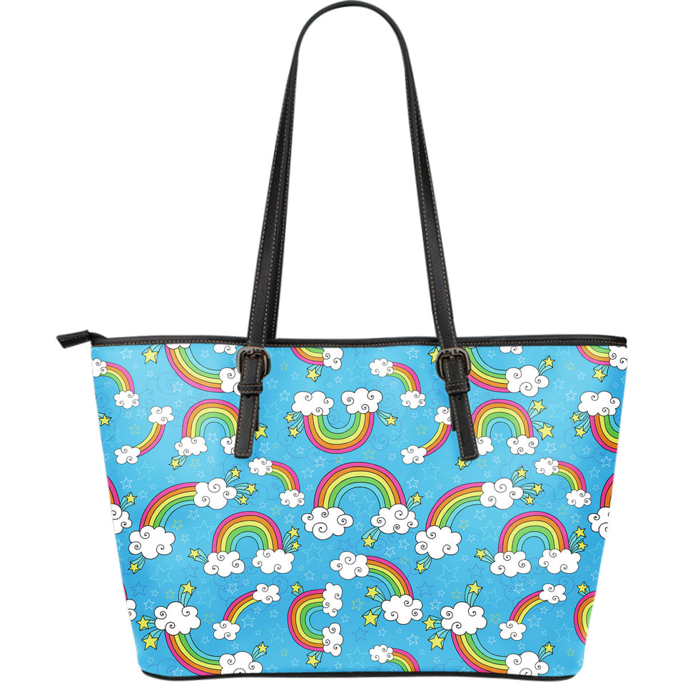 Rainbows Sky Clouds Pattern Large Leather Tote Bag