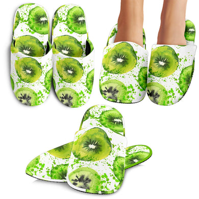 Watercolor Kiwi Pattern Slippers