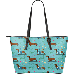 Dachshund Decorative Background Large Leather Tote Bag
