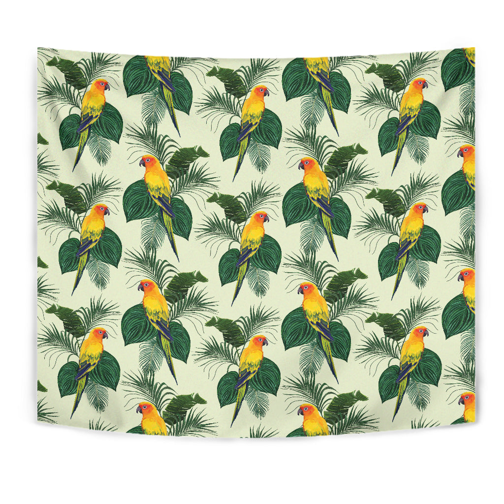 Beautiful Parrot Palm Leaves Pattern Wall Tapestry