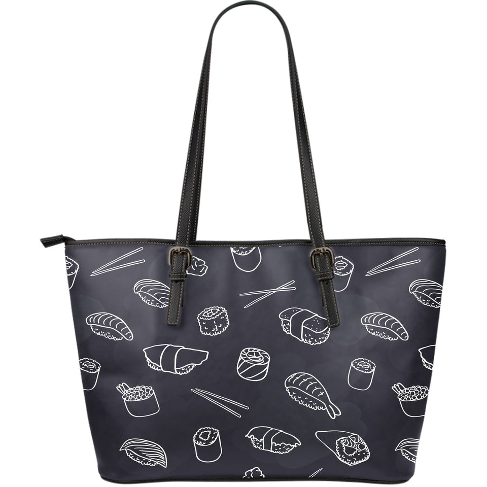 Sushi Pattern Black Background Large Leather Tote Bag