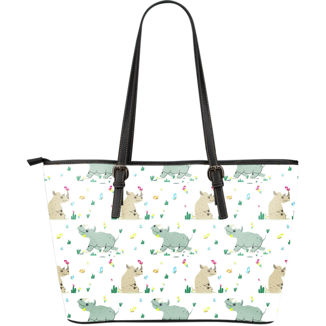Cute Rhino pattern Large Leather Tote Bag