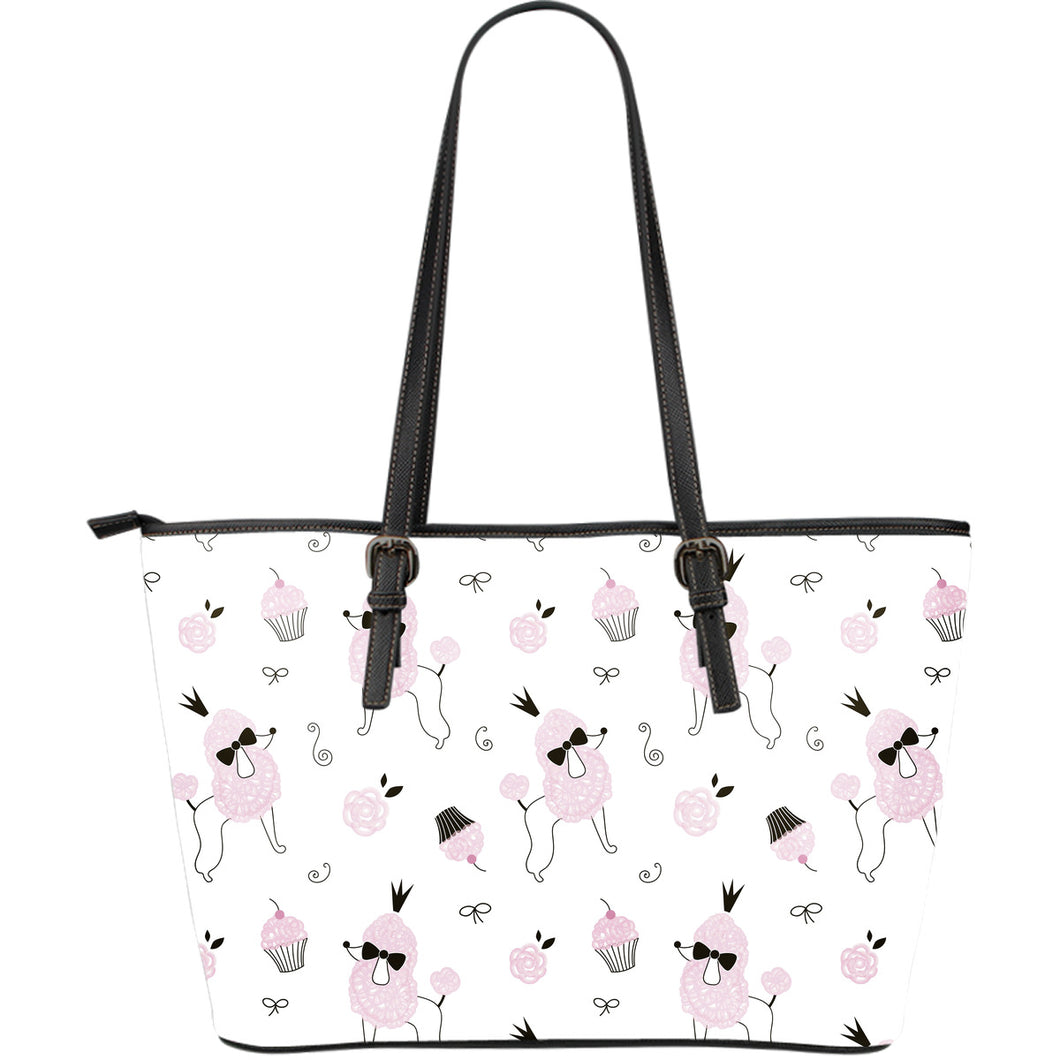 Poodle dog rose cake pattern Large Leather Tote Bag
