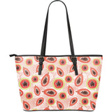Papaya Leaves Pattern Large Leather Tote Bag