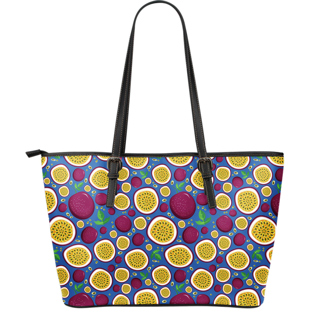 Passion Fruit Blue Background Large Leather Tote Bag