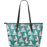 Cute sailboat pattern Large Leather Tote Bag