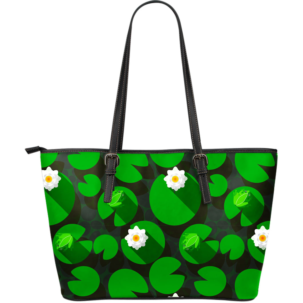 Frog Waterlily Pattern Large Leather Tote Bag