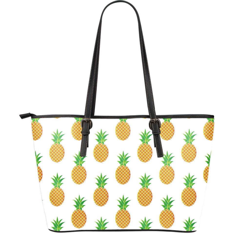 Pineapples pattern Large Leather Tote Bag