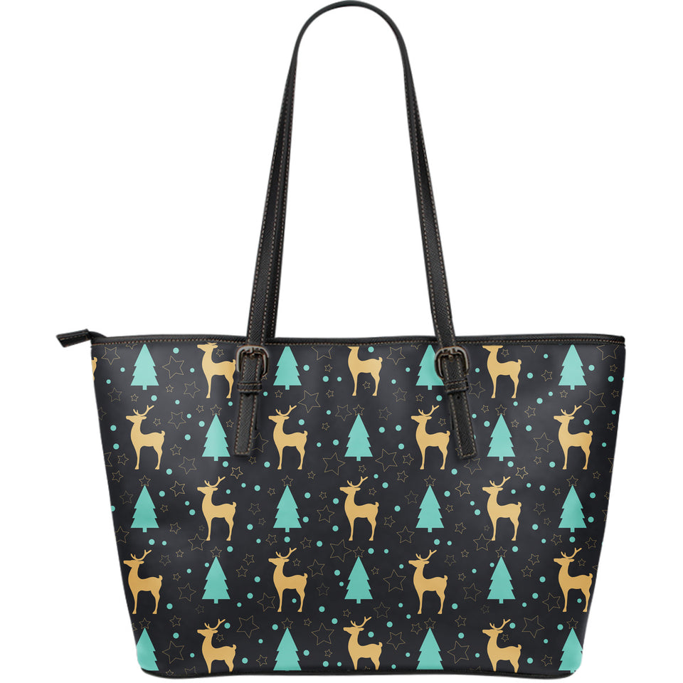 Deers Star Tree Pattern Large Leather Tote Bag
