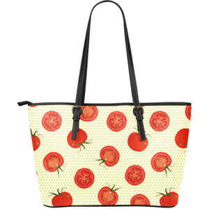 Tomato dot background Large Leather Tote Bag