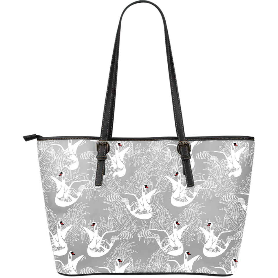 White Swan Gray Background Large Leather Tote Bag