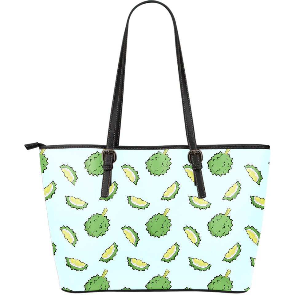 Durian Pattern Blue Background Large Leather Tote Bag