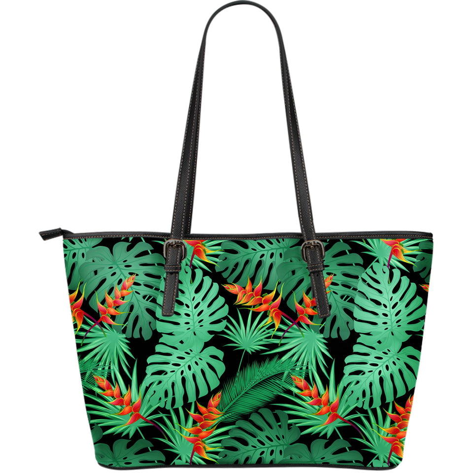 Heliconia Flower Palm Monstera Leaves Black Background Large Leather Tote Bag