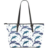Dolphins pattern dotted background Large Leather Tote Bag
