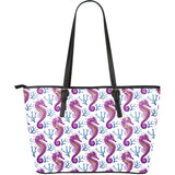 Purple Seahorse Blue Coral Pattern Large Leather Tote Bag