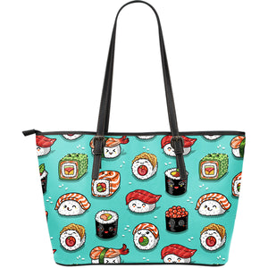 Cute sushi pattern Large Leather Tote Bag