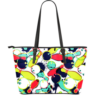 Watercolor Bowling Ball Pins Large Leather Tote Bag