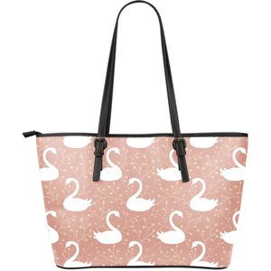 Swan Flower Light Pink Background Large Leather Tote Bag