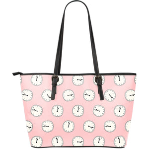 Clock Pattern Pink Blackground Large Leather Tote Bag