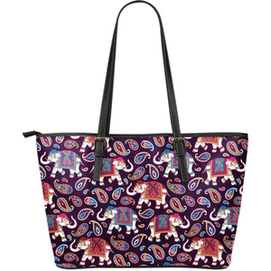 Elephant Indian Style Ornament Pattern Large Leather Tote Bag