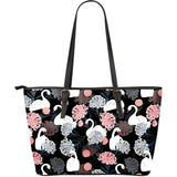 white swan blooming flower pattern Large Leather Tote Bag