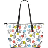 Siberian husky and colorful circle pattern Large Leather Tote Bag