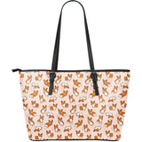 Cute Corgis Pattern pink background Large Leather Tote Bag