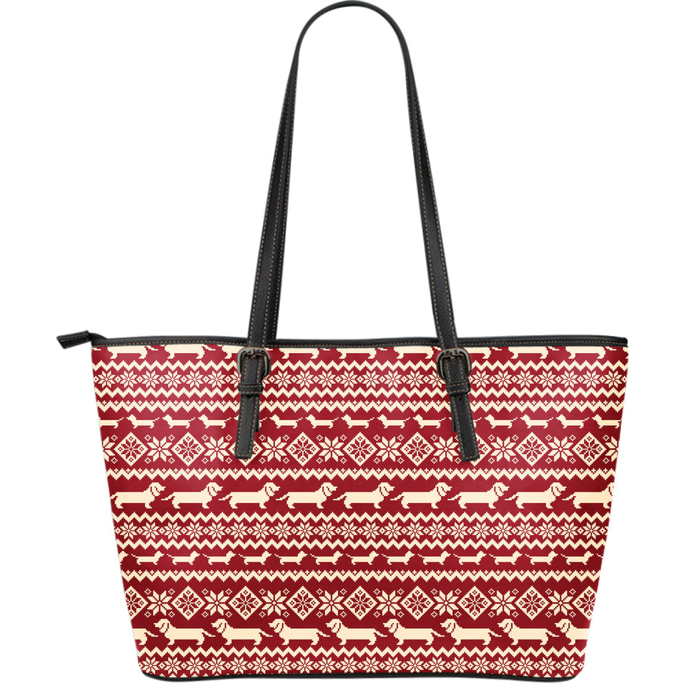 Dachshund Nordic pattern Large Leather Tote Bag