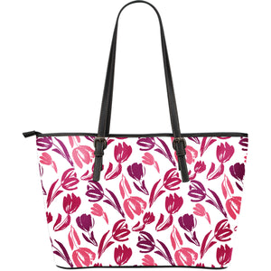 Pink Sketch Tulip Pattern Large Leather Tote Bag