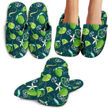 Lime Ice Flower Pattern Slippers