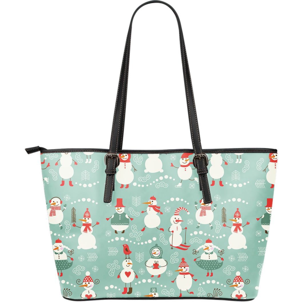 Cute snowman pattern Large Leather Tote Bag