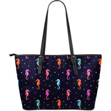 Watercolor colorful seahorse pattern Large Leather Tote Bag