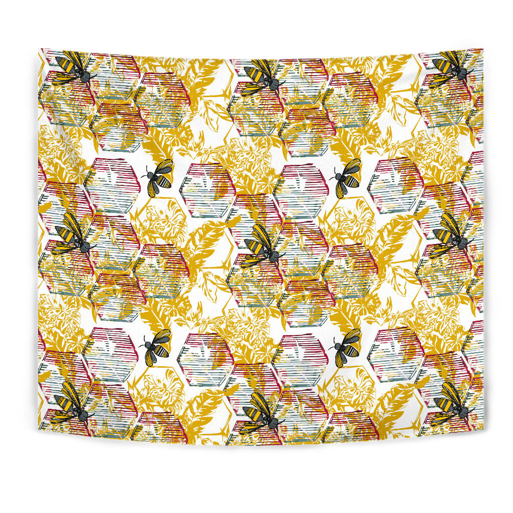 Cool Bee Honeycomb Leaves Pattern Wall Tapestry