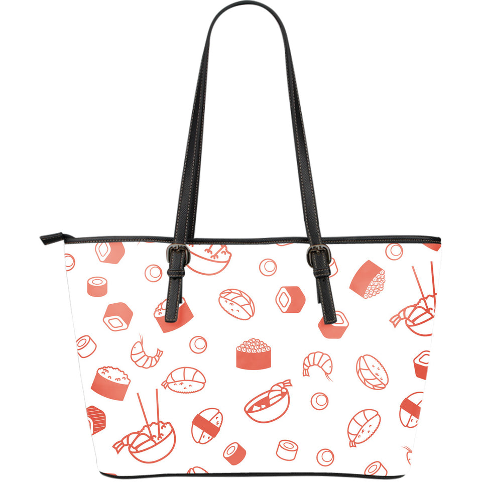 Sushi pattern Large Leather Tote Bag
