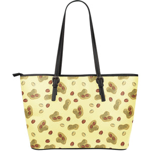 Peanuts Design Pattern Large Leather Tote Bag
