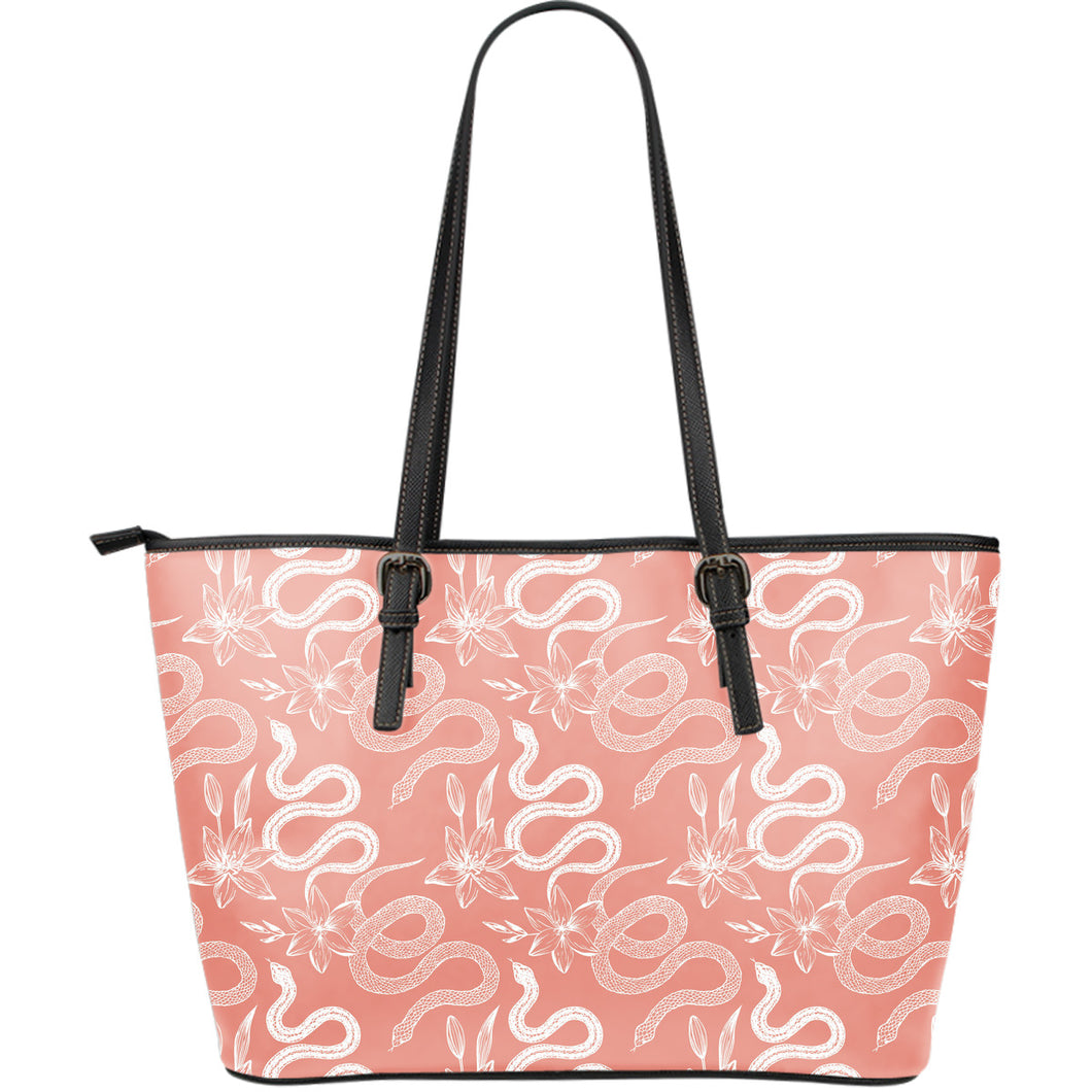 Snake Lilies Flower Pattern Large Leather Tote Bag