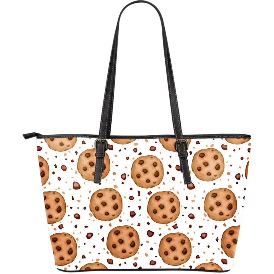 Chocolate Chip Cookie Pattern Large Leather Tote Bag