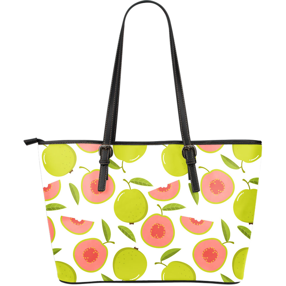 Guava Pattern Large Leather Tote Bag