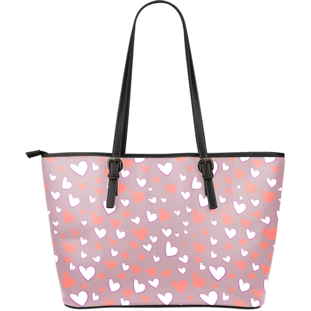 coral white heart pattern Large Leather Tote Bag