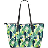 Toucan Tropical Leaves Design Pattern  Large Leather Tote Bag
