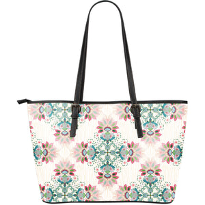 Square floral indian flower pattern Large Leather Tote Bag