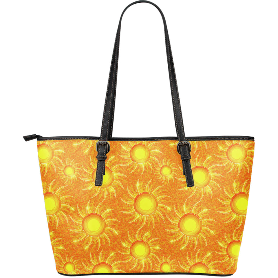 Sun orange background Large Leather Tote Bag