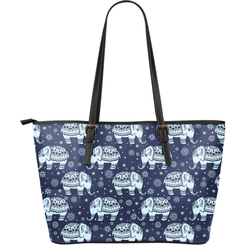 Elephant Tribal Design Pattern Large Leather Tote Bag