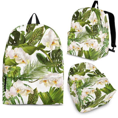 White orchid flower tropical leaves pattern Backpack