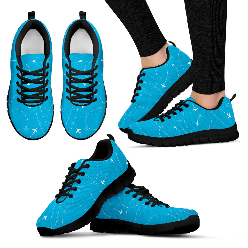 Airplane Destinations Blue Background Women'S Sneaker Shoes